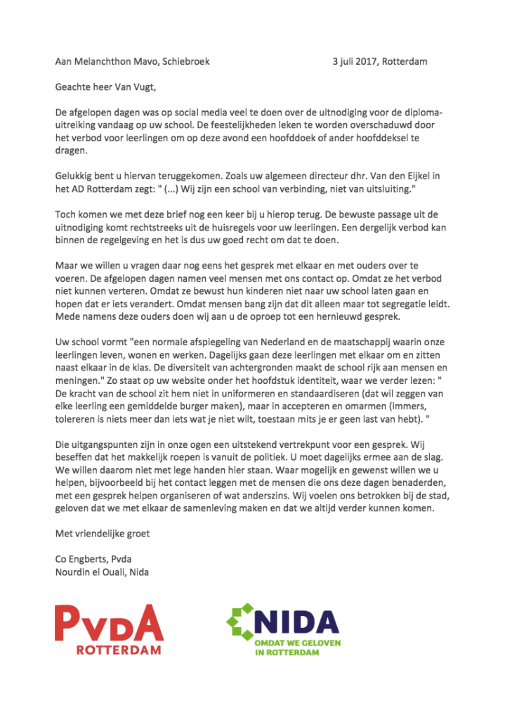 Open brief (PvdA & NIDA): 'hoofddoekverbod' en 'verschillen omarmen' gaan niet samen! Def.