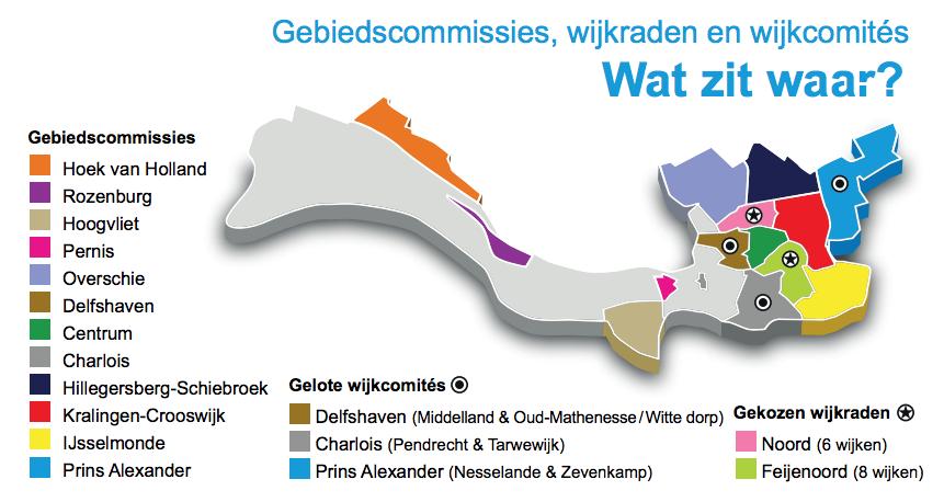Kaart gebiedscommissies, wijkraden en wijkcomités